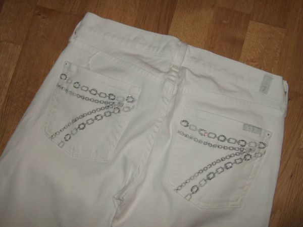Seven For All Mankind Dojo White Crystal Chain Jeans 28 34.5